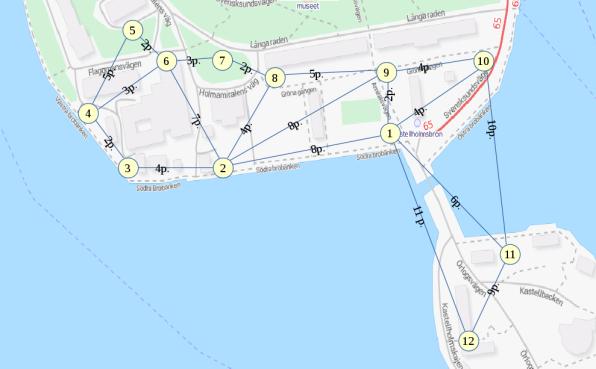 Punktkort för Skeppsholmen.  © OpenStreetMaps bidragsgivare.