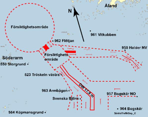 Bild på trafiksepareringssystem i Ålandshav